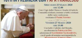 Due appuntamenti per pregare tutti insieme in comunione con Papa Francesco