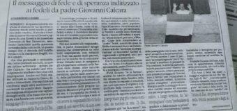"""Articolo di padre Giovanni Calcara pubblicato sul """"Quotidiano del Sud"""" – Ed. Vibo Valentia del 28-03-2020"""
