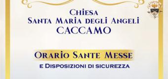 Orario delle Santa Messe e disposizioni di sicurezza